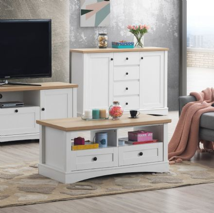 Carden White Coffee Table with 2 Drawers